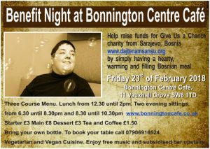 flyer for JOS benefit night Feb 23rd at Bonnington Cafe