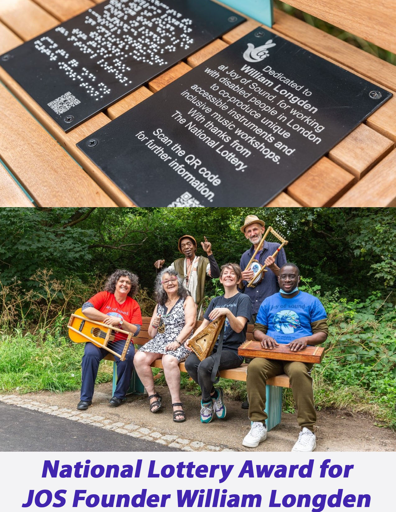 photo of some of the JOS team at the dedication of the award in the form of a bench