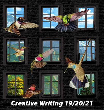 Creative Writing poster with birds against views through windows