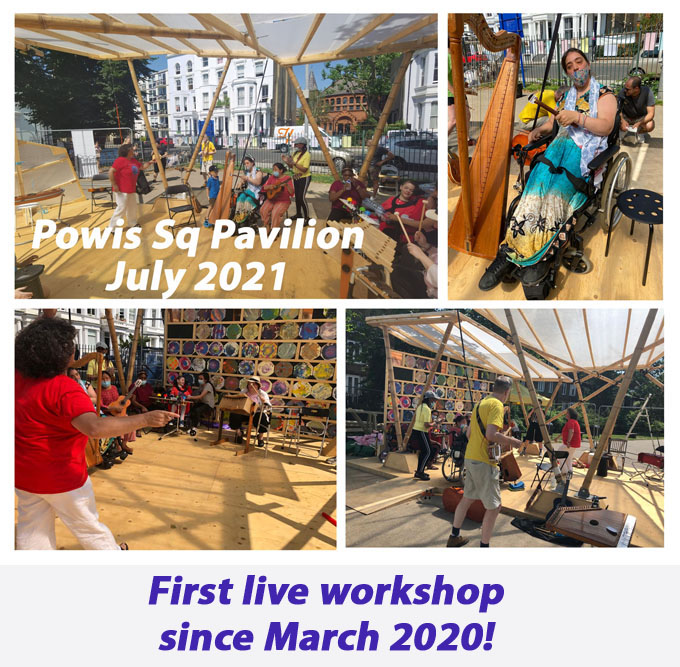 photos of JOS session at Powis Square Pavilion showing musicians playing under a canopy on a hot sunshiney day